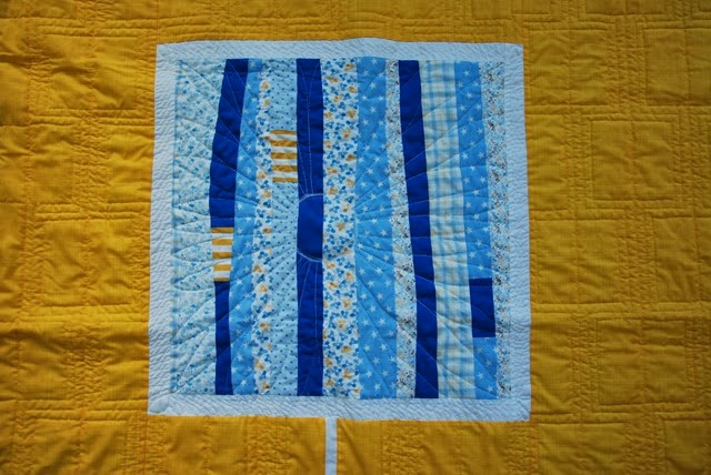 Yellow Improv Quilt Quilting Centre Flower