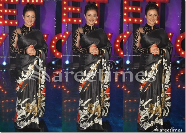 Tisca_Chopra_Black_Printed_Saree