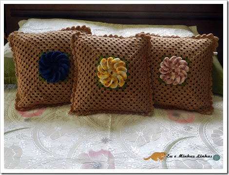 Almofada Croche Flor Lã 1a