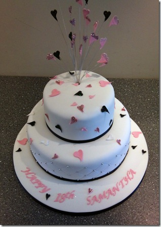 2 tier hearts birthday cake in black,pink and silver