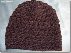 Puff stitch beanies in purple, grey/silver, brown