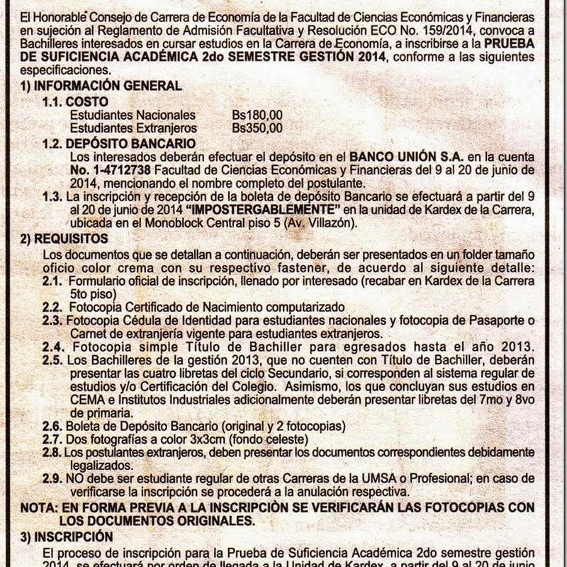 Economía UMSA: Convocatoria a la Prueba de Suficiencia Académica 2do semestre, Gestión 2014