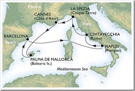 """""""Mediterranean Padel Cruise by HEAD"""" zarpará de la ciudad condal, la última semana de mayo y la primera de junio, haciendo escala en las bellas ciudades de Nápoles, Civitavecchia (Roma), La Spezia (Florencia), Cannes y Palma de Mallorca."""