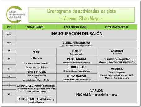 Planning Salon Internacional del Pádel Viernes