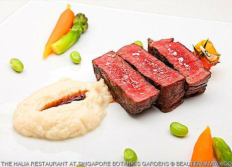 Halia Singapore Restaurant 300 days grain-fed Rangers Valley Black Angus tenderloin, truffle celeriac mash, panache of baby vegetables,  red wine jus
