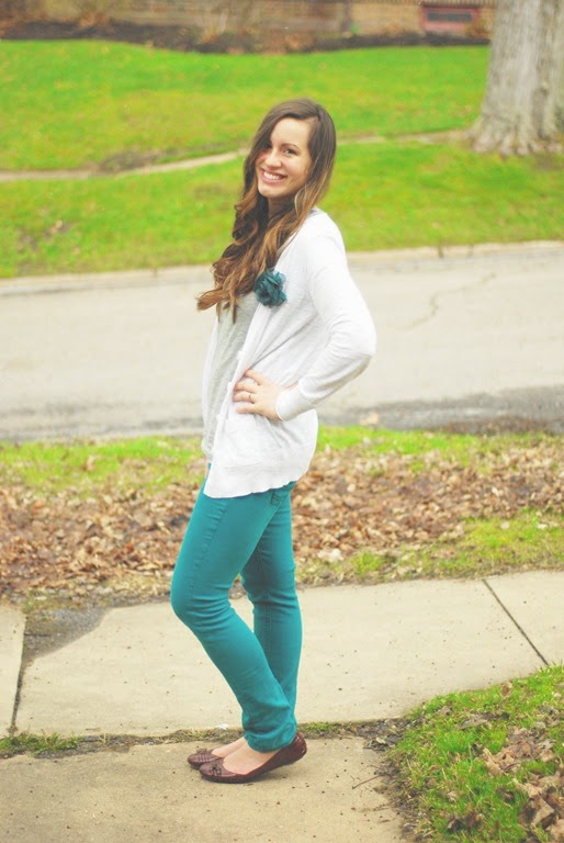 teal pants, white cardigan