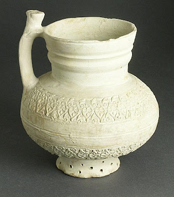 Ewer | Origin: Iran | Period: 12th-13th century | Collection: The Madina Collection of Islamic Art, gift of Camilla Chandler Frost (M.2002.1.95) | Type: Ceramic; Vessel, Earthenware, molded, Height: 6 5/8 in. (16.82 cm)