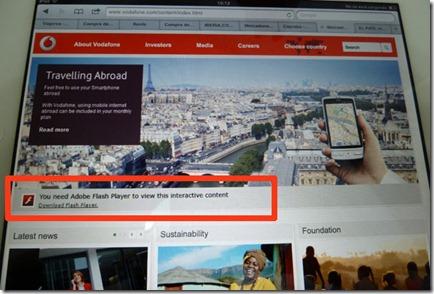 Web de Vodafone vista con un iPad: muestra una imagen alternativa a la animación en Flash y un enlace a la descarga del plugin
