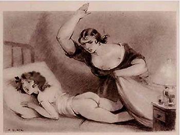 Madre sculaccia figlia a letto