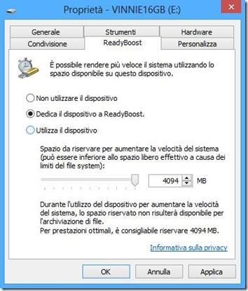 Dedicare la chiavetta USB a ReadyBoost