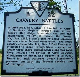 Cavalry Battles, Marker B-22 Loudoun County, VA