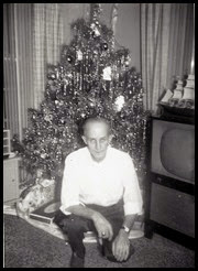 MILNE_Robert in front of Christmas tree circa 1960