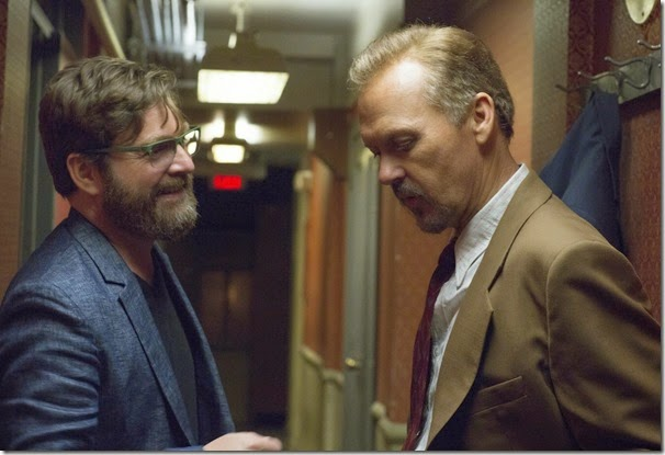 "Michael Keaton as ""Riggan"" and Zach Galifianakis as ""Jake"" in BIRDMAN. Photo by Alison Rosa. Copyright © 2014 Twentieth Century Fox."