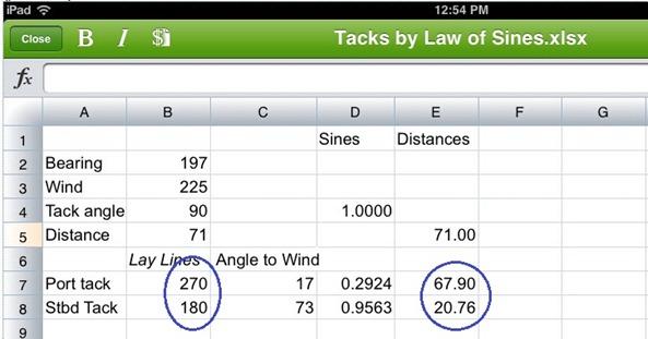 Spreadsheet Tacking Angle