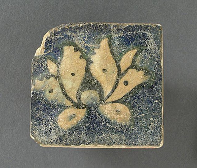 Tile | Origin: Iran | Period:  14th century | Collection: The Madina Collection of Islamic Art, gift of Camilla Chandler Frost (M.2002.1.345) | Type: Ceramic; Architectural element, Fritware, molded, painted and glazed, 2 x 2 in. (5.08 x 5.08 cm)