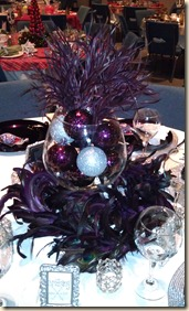 Purple feathers tablescape 12.15.11