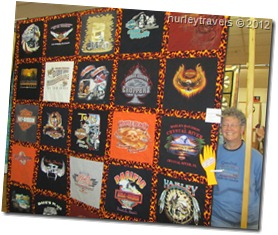 Harley Davidson t-shirt quilt with Marilyn.