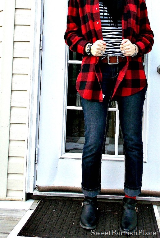 buffalo plaid with stripes, skinny jeans and booties2