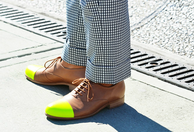mens street style tommy ton style spring summer 2012 neon toecap