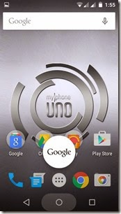 MyPhone Uno - Google Now swipe up