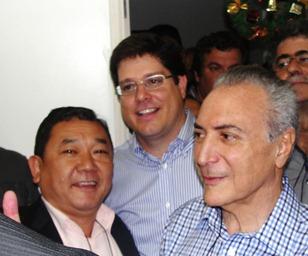 Dr. Sato com o vice-presidente da República, Michel Temer, e o Baleia Rossi, presidente eleito do PMDB Estadual