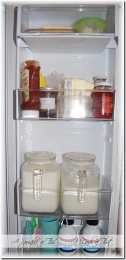 Fridge door bins after organization {A Sprinkle of This . . . . A Dash of That}