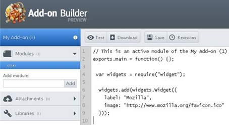 Mozilla Firefox Add-on Builder SDK