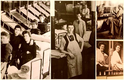 mill workers collage