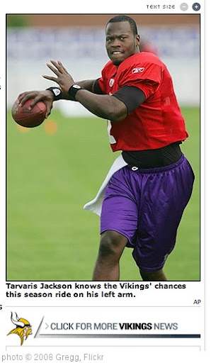 'Tarvaris Jackson and his left arm' photo (c) 2008, Gregg - license: http://creativecommons.org/licenses/by-sa/2.0/