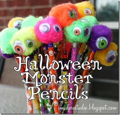 Halloween Monster Pencils from mudpiestudio.blogspot.com