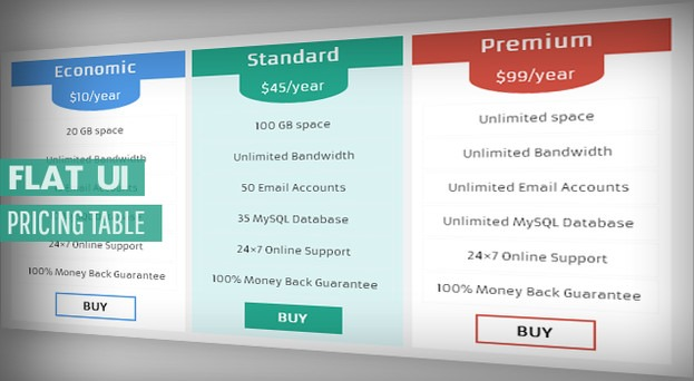 pricing table blogger