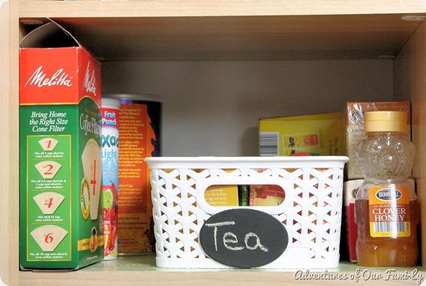 kitchen organization tea shelf