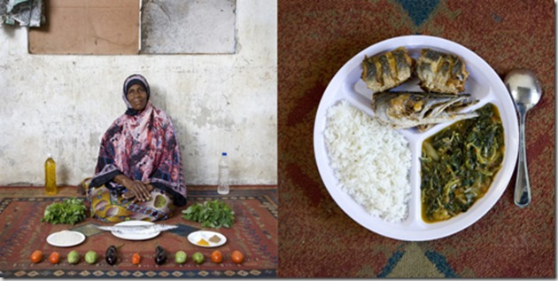 Miraji Mussa Kheir, 56 years old, Bububu, Zanzibar. Wali, mchuzina mbogamboga, rice, fish and vegetables in green mango sauce