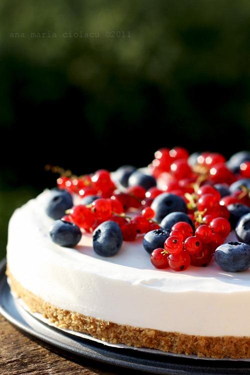 Cheesecake cu iaurt şi fructe de pădure, pentru Provocarea Lunii Iulie / Dulce Românie