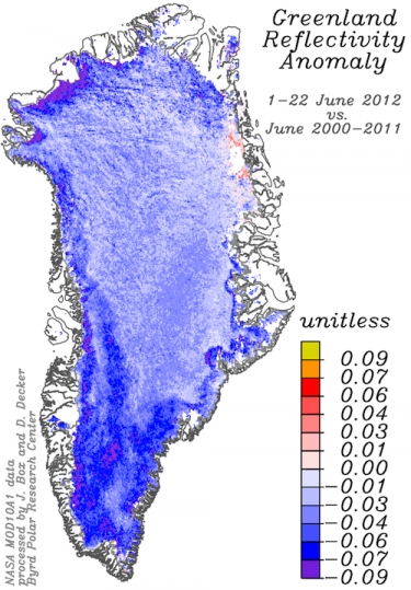 Satellite data of Greenland reflectivity 1-22 June 2012 versus the same periods in previous Junes back to 2000. The blue colors indicate a decrease in reflectivity compared to previous Junes. NASA / Meltfactor.org