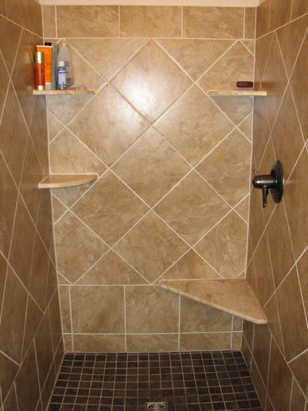 Shower tile designs casual cottage for Tile shower floor ideas