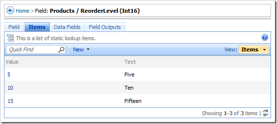 Items tab in the Field page of the web application designer.