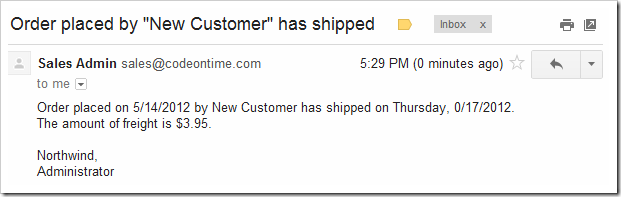 The shipping notification in the Gmail inbox of the sales representative.