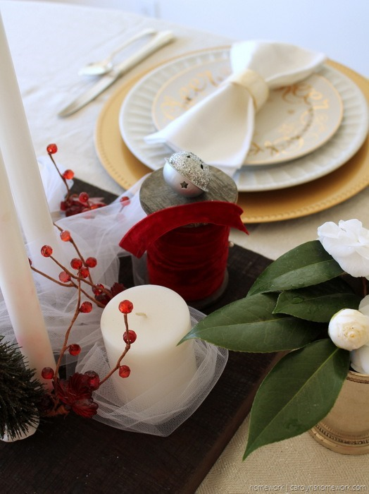 Red Velvet & White Tulle Holiday Tablescape via homework - carolynshomework (1)