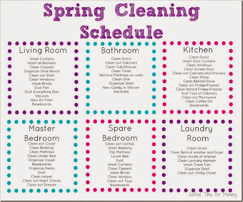 Coffee Time For Mommy: Spring Cleaning Schedule