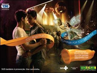 Imagem de campanha de prevenção da aids para o carnaval 2012 posteriormente substituída (Foto: Reprodução/BBC Brasil)