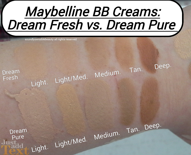 Maybelline Dream Pure BB Cream Review Swatches of Shades Light Light/Medium, Medium, Tan, Deep  (2% Salicylic Acid Blemish Balm) vs. Maybelline Dream Fresh BB Cream SPF 30 Beauty Balm Review Comparison Swatches of Shades Light, Light/Medium, Medium, Tan, Deep