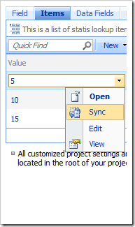Sync context menu option in the Project Browser.