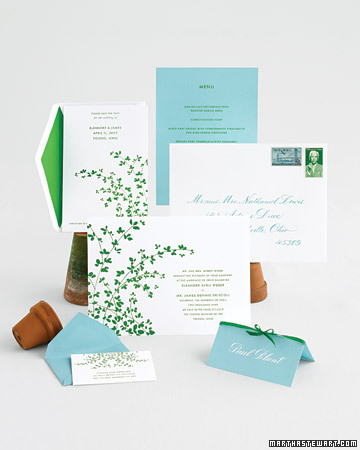 I love the graphic quality of these wedding invitations: modern, and yet classic. (http://www.marthastewartweddings.com/)