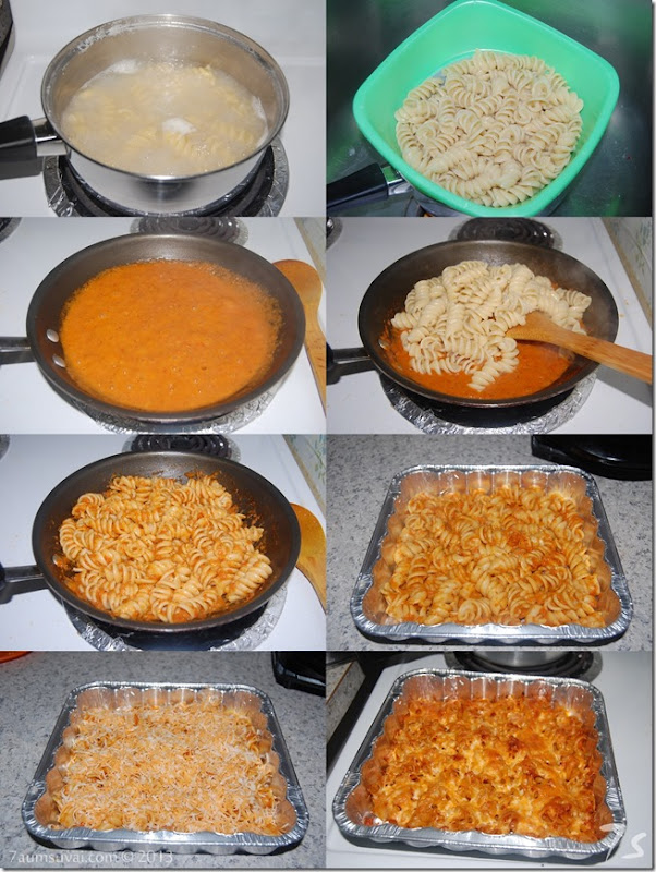 Baked rotini with red pepper sauce process