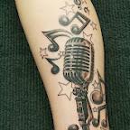 microphone treble clef music leg - Leg Tattoos Designs