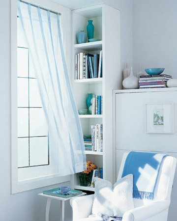 These easy-breezy striped curtains are a perfect fixture for summer.  (marthastewart.com/273650/ribbon-striped-sheer-curtains)