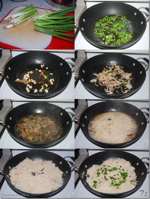 Spring onion pulao process