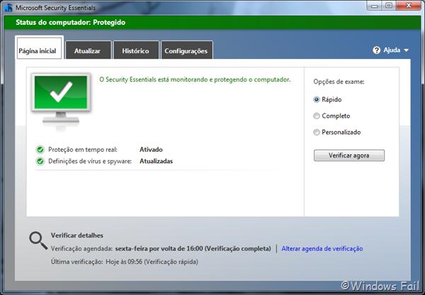Detalhes do agendamento de verificação de vírus aparecem na tela inicial do Security Essentials