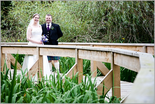 bride and groom in carberry tower edinburgh